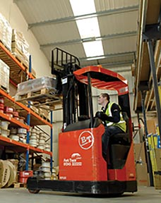 A forklift on the warehouse floor